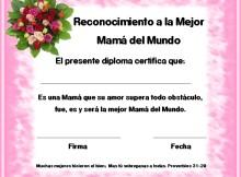 Diploma de reconocimiento a la mejor Mamá del mundo